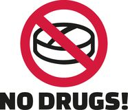 没有药物-在禁令标志的片剂 向量例证