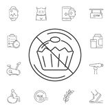 没有蛋糕象 简单的元素例证 从健身房和健康汇集的没有蛋糕标志设计集合 能为网和MOBIL使用 库存例证