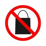 没有袋子禁止的储蓄传染媒介带来的小包袋子 唐` t带来任何东西 图库摄影