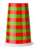 没有被倒置的把柄的红色和绿色镶边杯子 库存图片