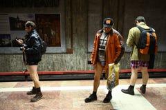 没有裤子地铁乘驾在布加勒斯特,罗马尼亚 库存照片