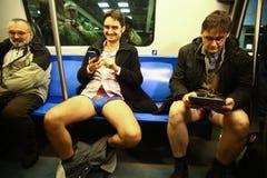 没有裤子地铁乘驾在布加勒斯特,罗马尼亚 库存图片