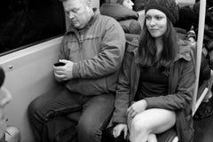 没有裤子天维也纳地铁乘驾 库存照片