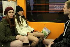 没有裤子天维也纳地铁乘驾 图库摄影