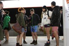 没有裤子天维也纳地铁乘驾 免版税库存图片