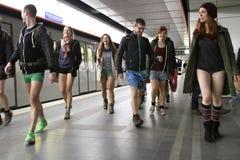 没有裤子天维也纳地铁乘驾 免版税图库摄影