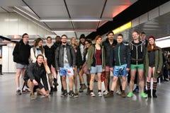 没有裤子天维也纳地铁乘驾 库存图片
