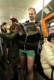 没有裤子天维也纳地铁乘驾 免版税库存照片