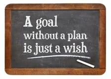 没有计划的一个目标是愿望-黑板标志 免版税图库摄影