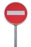 没有词条的圆的交通标志与杆 免版税库存图片