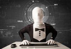 没有身分的黑客在乱砍个人信息的未来派环境里 库存照片