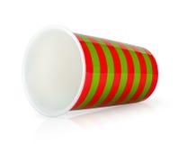 没有躺下的把柄的红色和绿色杯子 库存照片
