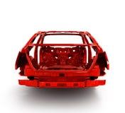 没有轮子3d例证的红色后面身体汽车 库存照片