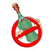 没有酒精标志和瓶 免版税库存照片