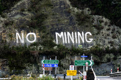 没有采矿抗议在新西兰 库存图片