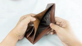 没有金钱和没什么的手开放钱包 库存图片