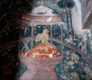没有面孔的印地安信奉瑜伽者在贤哲的姿势思考 库存照片