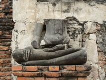 没有顶头雕象, WAT玛哈的菩萨寺庙,阿尤特拉利夫雷斯,泰国 免版税图库摄影