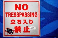 没有风化Tresspassing标志 免版税图库摄影