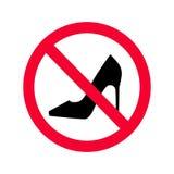 没有高跟鞋红色禁止标志 没有提供的高跟鞋标志 向量例证