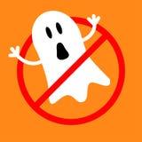 没有鬼魂妖怪 禁止没有标志红色圆的中止警报信号逗人喜爱的漫画人物 看板卡万圣节 平的设计样式 免版税图库摄影