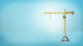 没有任何装载的一架黄色固定式塔吊在全长在蓝色背景 免版税图库摄影