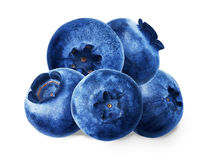 没有绿色叶子的蓝莓在白色背景 免版税库存照片