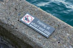 `没有FISHISH仅`在码头末端标志 免版税库存照片