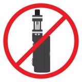 没有vape标志,禁止 禁烟蒸发器区域 平的样式 图库摄影