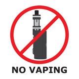 没有vaping的标志,平的样式 禁令旅团灼烧的耕种熄灭火消防队员开放禁止冲的符号对木头 禁烟区 免版税库存照片