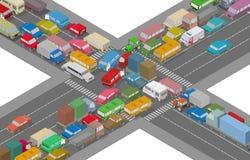 沥青汽车阻塞无缝的业务量向量墙纸 等量汽车和议院繁忙的路的例证的 向量例证
