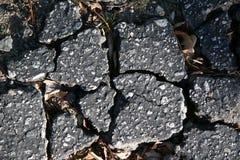 沥青被中断的破裂的路面 库存图片