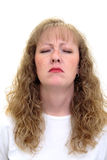 沮丧的不快乐的妇女 免版税库存图片