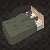 沮丧的人在与打鼾的妻子的床上 图库摄影