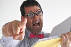 沮丧的人老师对类的学生叫喊 免版税库存照片