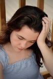 沮丧的女孩哀伤青少年 免版税图库摄影