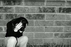 沮丧的女孩哀伤青少年 免版税库存图片