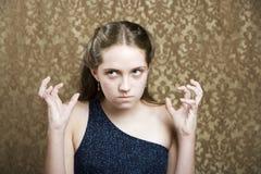 沮丧的女孩年轻人 免版税图库摄影