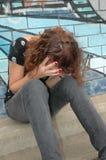 沮丧的女孩 免版税图库摄影