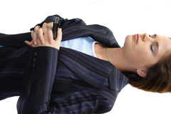 沮丧的妇女工作 免版税库存图片
