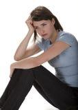 沮丧的妇女年轻人 免版税库存照片