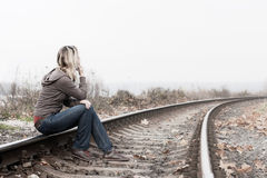 沮丧的妇女 免版税库存照片