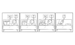 沮丧的男人和妇女关系和性问题动画片可笑的故事  向量例证
