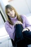 沮丧的表达式女孩哀伤的少年年轻人 免版税库存照片