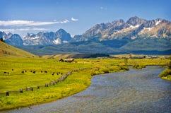 河、大农场和山,爱达荷 库存图片