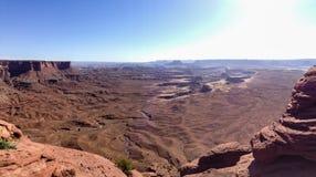 绿河乐队俯视, Canyonlands,蓝天 免版税图库摄影