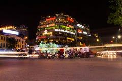 河内中心地区在晚上 免版税库存图片
