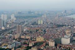 河内在暮色期间的地平线都市风景 免版税库存照片