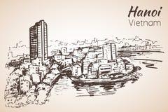 河内都市风景越南 草图 库存例证