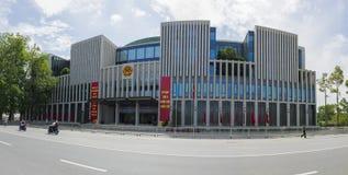 河内,越南- 2015年5月24日:全景新的国民议会大厦街道视图,是一个公开大大厦,位于Ba 免版税库存图片